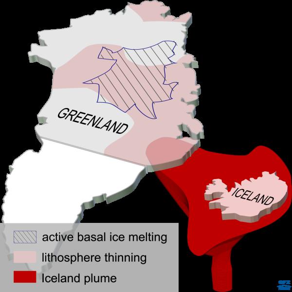 Posizione odierna della colonna lavica islandese, con le zone del mantello assottigliato a causa del magma e le regioni di fusione, alla base della piattaforma ghiacciata. Fonte: A. Petrunin, GFZ