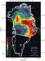 Il flusso geotermico a circa 5 km sotto la parte rocciosa della superficie. Fonte: I. Rogozhina et al., NatureGeoscience.