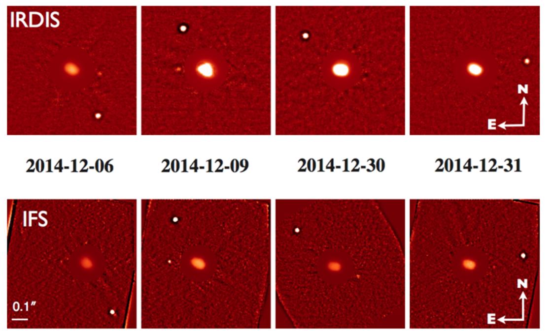"""Varie immagini, riprese con due strumentazioni ausiliarie, ottenute in ottica adattiva con SPHERE/VLT dell'ESO. In molte di esse si nota bene il satellite più piccolo, alla """"giusta"""" distanza. Fonte: Yang/ESO"""