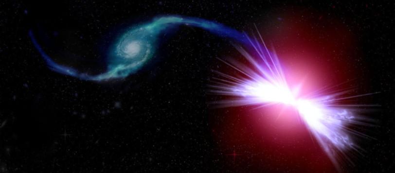 La galassia di destra succhia materia dalla galassia di sinistra. Le terribile abbuffata mette in moto il motore centrale eda lui parte un terribile vento caldo che blocca ogni nascita stellare. Fontet: Kavli IPMU