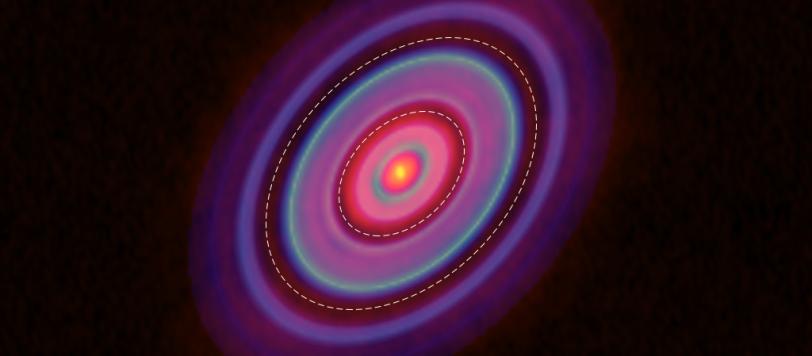 La distribuzione dell'HCO+ (blu) e della polvere (rosso) nel disco di HL Tau. Le ellissi mostrano i gap a 28 e 69 UA. Fonte: ALMA (ESO/NAOJ/NRAO), Yen et al.