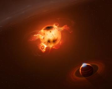 Visione artistica del Giove-caldo che orbita molto vicino alla sua stella ancora in formazione. Fonte: Mark Garlick