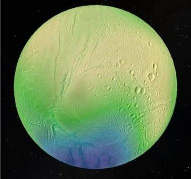 Un'immagine che mostra lo spessore della crosta ghiacciata di Encelado. Essa raggiunge i 35 km nella zona craterizzata equatoriale (giallo), ma diminuisce fino a 5 km nella zona del polo sud (blu). Fonte: LPG-CNRS-U. Nantes/U. Charles, Prague