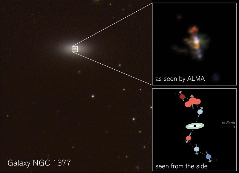 Fonte: CTIO/H. Roussel et al./ESO (imagine di sfondo); Alma/ESO/NRAO/S. Aalto (riquadro in alto); S. Aalto (riquadro in basso)