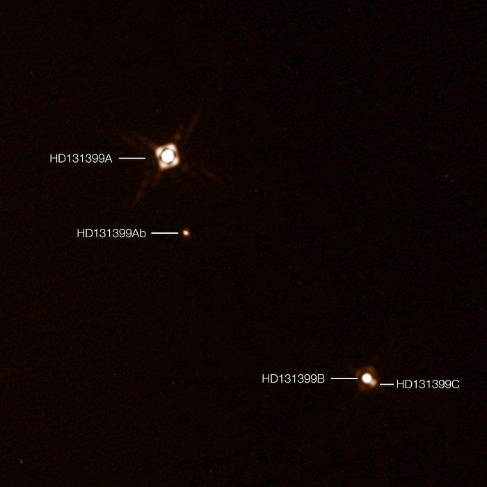 A sinistra la stella più massiccia, poi il pianeta e, infine, a destra, la coppia estremamente vicina. Crediti: ESO/K. Wagner et al.