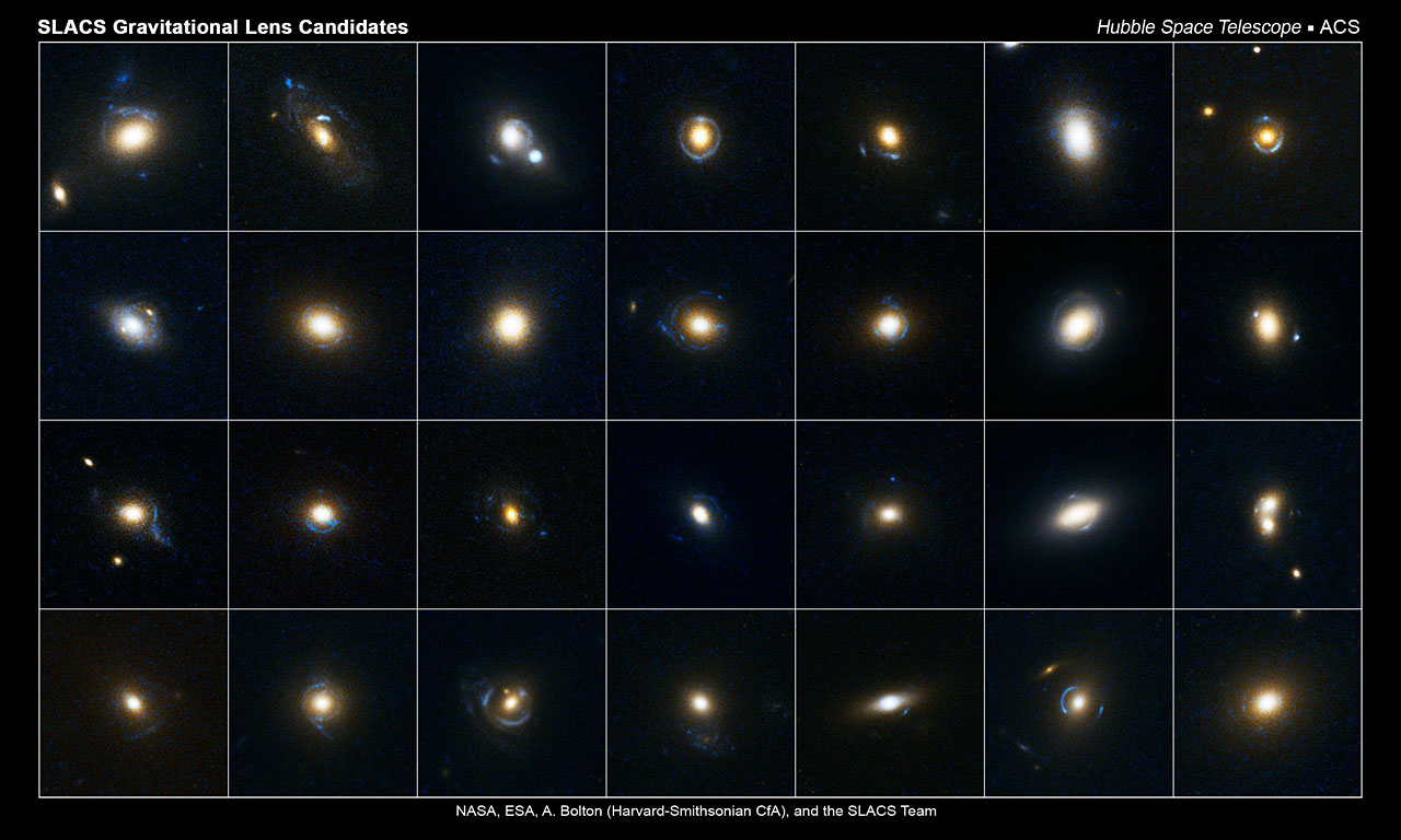 This collection of images shows 28 gravitational lens candidates. Astronomers studied these photos, which were taken by the Hubble Space Telescope's Advanced Camera for Surveys, and identified which of the candidates were gravitational lenses. These candidates were selected from the Sloan Digital Sky Survey. Gravitational lensing occurs when the gravitational field from a massive object warps space and deflects light from a distant object behind it. The reddish-white objects in the center of each image are massive galaxies. The blue arc-like patterns around many of the galaxies are the smeared light from distant galaxies that are behind the massive galaxies.