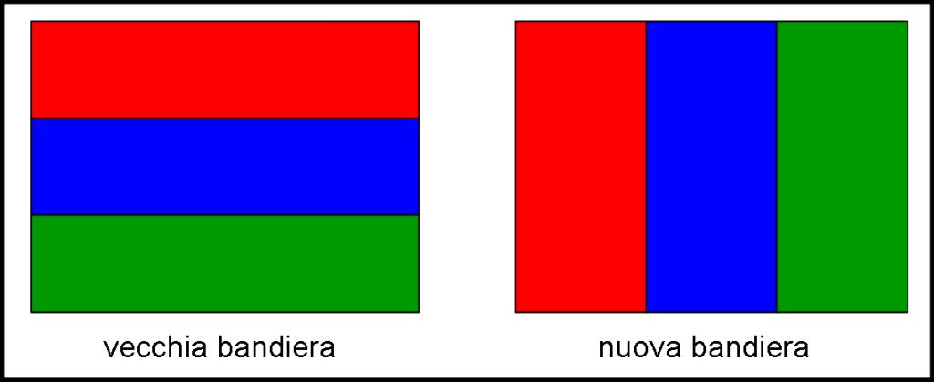 La vecchie e la nuova bandiera: bisogna utilizzare la prima per ottenere la seconda. Le dimensioni devono essere RISPETTATE