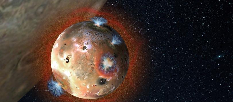 Una rappresentazione artistica dell'atmosfera di Io, che collassa durante le eclissi giornaliere. Fonte: Southwest Research Institute.