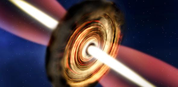 Una visione artistica della super-stella che sta nascendo a 11 000 anni di luce da noi, nascosta in una spessa nube molecolare. Fonte: A. Smith, Institute of Astronomy, Cambridge