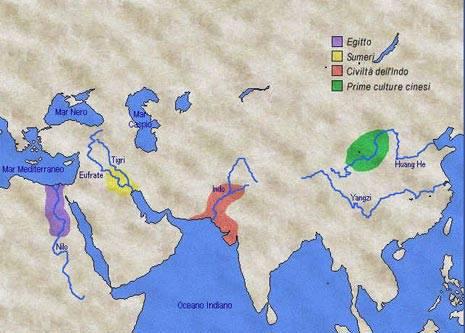 Le grandi civiltà, da cui è partita l'evoluzione intellettuale umana, erano localizzata vicino a grandi fiumi, che permettevano cicli stagionali favorevoli per l'agricoltura e che erano utilizzabili come facili vie di comunicazione e di trasporto.