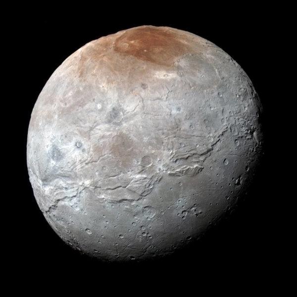 Caronte e l'opera pittorica di Plutone (in fase molto preliminare….). Fonte. NASA/JHUAPL/SwRI