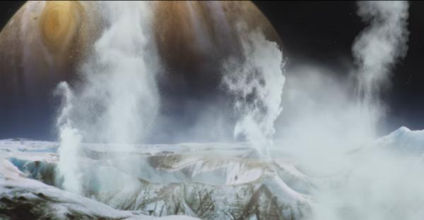 Il panorama che si potrebbe vedere su Europa (basta stare lontano dai geyser...). Fonte: Goddard/Katrina Jackson