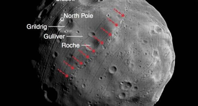 Nell'immagine di Phobos, le piccole frecce rosse indicano una catena di piccoli crateri la cui origine sarebbe legata ai frammenti espulsi dal cratere denominato Grilding. Essi avrebbero percorso un po' di giri attorno a Marte, prima di ricadere sul satellite in cui erano nati. Fonte: ESA/DLR/FU Berlin-Neukum, modificata da Nayak e Asphaug.