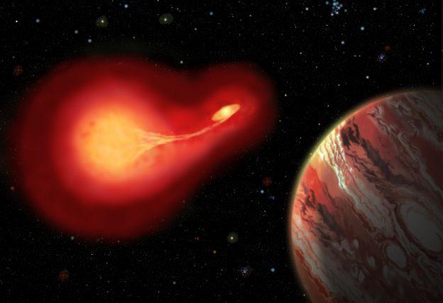 La fantastica visione che si avrebbe da un pianeta che sta migrando verso zone più sicure mentre la stella doppia ha iniziato il suo lavoro di scambio di materia. Fonte: Jon Lomberg
