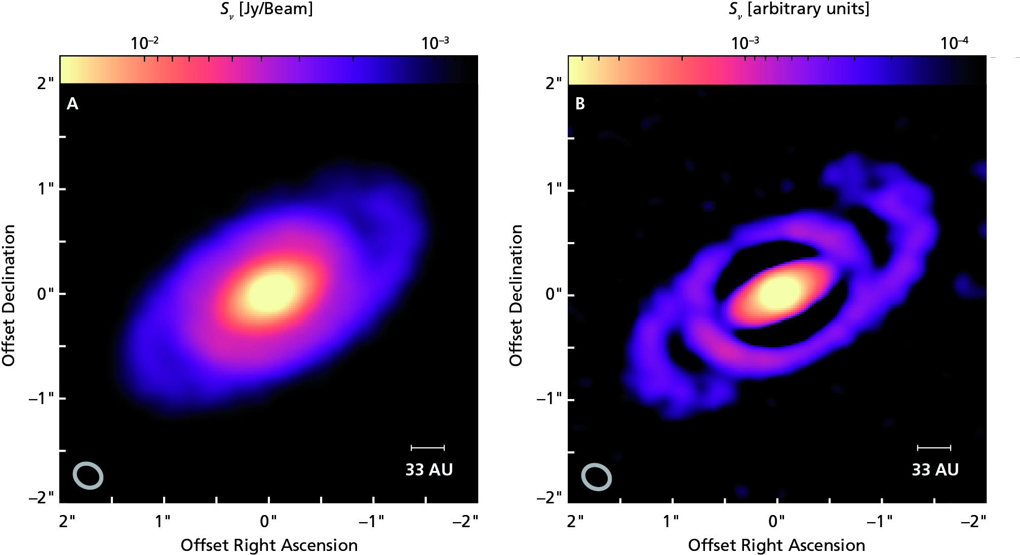 Il disco analizzato con filtri speciali mette ancora meglio in rilievo la forma a spirale. Il piano del disco appare inclinato di circa 55° rispetto alla linea di vista. Fonte: Laura Pérez (MPIfR Bonn/MPIA)