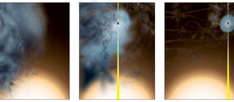 Rappresentazione artistica della perdita del  regno galattico  di un buco nero supermassiccio che continua la sua esistenza con un  esilio solitario. Fonte: Bill Saxton, NRAO/AUI/NSF