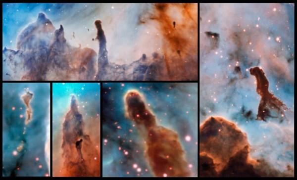I pilstri della creazione della nebulosa Carena sono in fase di sfaldamento a causa della intensa luce delle stelle che hanno fatto nascere. Una distruzione solo apparente, dato che si creano nuovi addensamenti capaci di creare nuove stelle. Fonte: ESO/A. McLeod