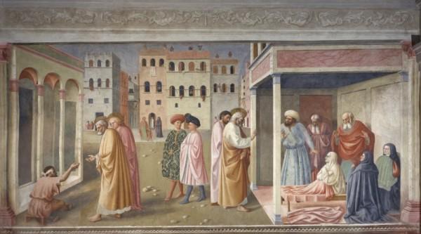MASOLINO e (forse) MASACCIO - Guarigione dello storpio e resurrezione di Tabita (1424-1425) Santa Maria del Carmine - Cappella Brancacci (Firenze)