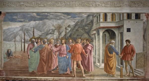 """MASACCIO - """"Il pagamento del tributo"""" (1425 circa) - Santa Maria del Carmine - Cappella Brancacci (Firenze)"""
