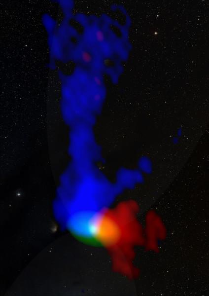 Le osservazioni di ALMA. Le zone blu si avvicinano a noi, quelle rosse si allontanano. Fonte: P. Bjerkeli et al./ESASky/ESAC, Spain