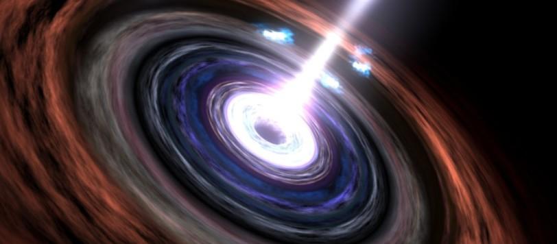 Nel cuore di una galassia attiva, la materia cade spiraleggiando verso il buco nero gigantesco che si annida, affamato, nel centro. Non esistee nessun acceleratore che possa avvicinarsi a quello che crea il disco e il campo magnetico: i getti lanciano particelle a velcoità che sembrano sfidaree quella degli stessi fotoni gamma. Fontet: NASA's Goddard Space Flight Center Scientific Visualization Studio