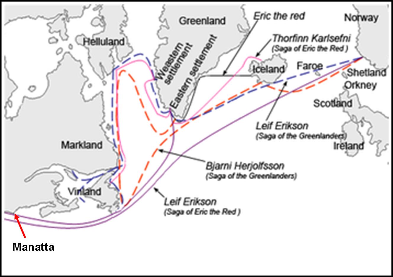 I viaggi dei vichinghi intorno all'anno 1000 d.C.