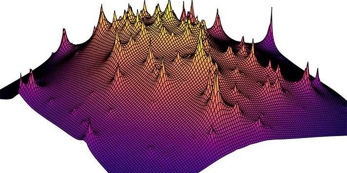 Una visualizzazione in 3-D della distribuzione di materia oscura in un lontano ammasso galattico, ottenuta attraverso le osservazioni di Hubble. Fonte: Yale University.
