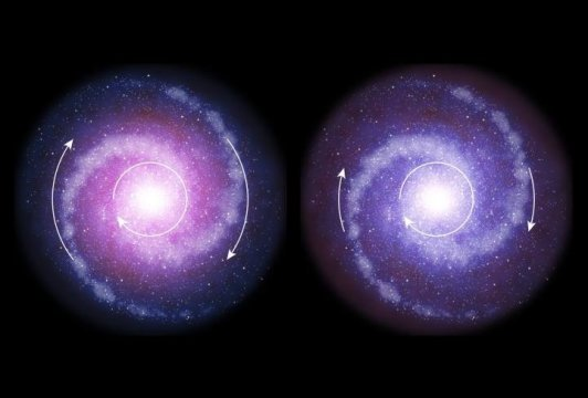 Una rappresentazione schematica di due galassie. A destra quella primigenia e a sinistra quella odierna. Come si vede bene quella antica non ha materia oscura e gira più piano; quella più vicina a noi ne ha tanta (colorata anche in rosso per farla VEDERE meglio) e ruota più velocemente. Uno schema di altissima profondità scientifica che impone elucubrazioni concettuali, puramente teoriche, che devono per forza essere introdotte per non buttare al macero una torta che sa di stantio in ogni sua parte… Fontet: ESO/L. Calçada