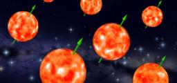 L'allineamento degli assi di rotazione di giganti rosse, appartenenti a un ammasso aperto molto vecchio (8 miliardi di anni), conferma la conservazione del momento angolare primigenio della nube. Ovviamente, le differenze tra le direzioni degli assi sono un po' più grandi di quanto mostrato nell'immagine artistica. Fonte: E.Corsaro et al.