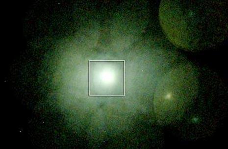 La zona dell'ammasso galattico del Perseo studiata dal telescopio Suzuko. Le dimensioni apparenti sono di circa due gradi, pari a quattro volte quelle  della Luna Piena.