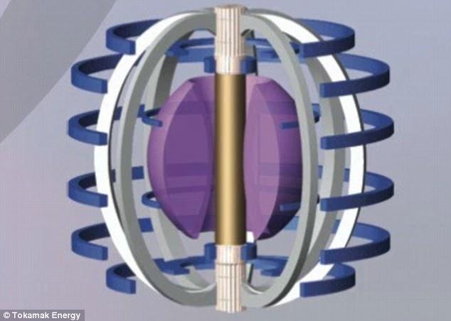 Lo schema di massima del reattore n costruzione. Il plasma è colorato in viola e viene mantenuto ad altissima temperatura da una gabbia magnetica. Fonte: Tokamak Energy.