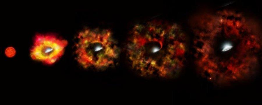 """Rappresentazione artistica del fenomeno della supernova """"fallita"""", la supergigante rossa giunta al momento critico espelle soltanto una picolla parte dei suoi strati esterni freddi. Parte di questi potranno ache ricadere sul buco nero centrale e rimarrà solo un alone illuminato per qualche anno dalle ultim emissioni del gas che precipita. Fonte. NASA, ESA, P. Jeffries (STScI)"""