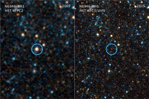Le immagini scattate da Hubble nel 2007 (a sx) e nel 2015 (a dx). Il circoletto azzurro evidenza la posizione della stella scomparsa. Fonte: Nasa, Esa, and C. Kochanek (Osu)