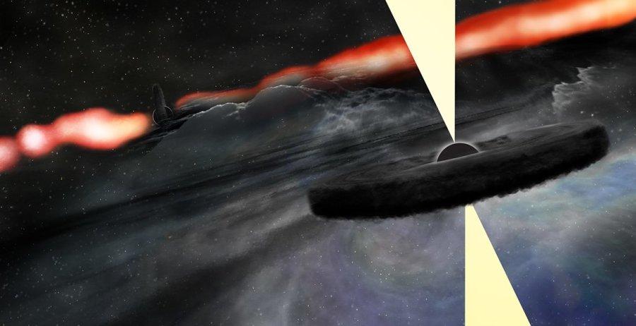 Visione artistica del nuovo buco nero di Cygnus A che orbita attorno al più grande e che si è reso visibile a causa del suo banchetto improvviso. Fonte: Bill Saxton, NRAO/AUI/NSF