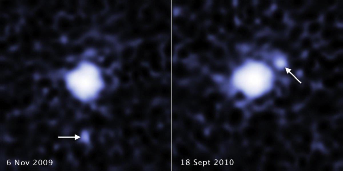 Queste due immagini, prese a distanza di un anno, rivelano la presenza di un satellite attorno a 2007 OR10, un futuro pianeta nano della Fascia di Kuiper, che è il più grande mai osservato dopo Plutone ed Eris. Fonte: NASA, ESA, C. Kiss (Konkoly Observatory), and J. Stansberry (STScI)