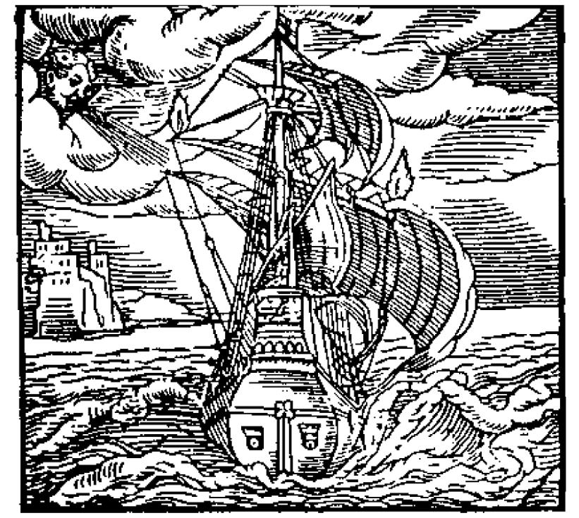 La figura originale del vascello di Giordano Bruno. Stranamente non compaiono le lettere citate nel testo.
