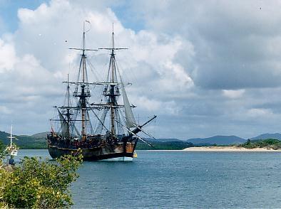 La ricostruzione della Endevour fa bella mostra di sé a Cooktown in Australia