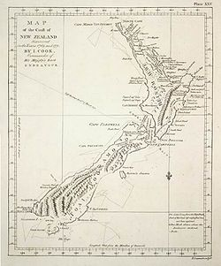 La mappa della Nuova Zelanda disegnata da Cook