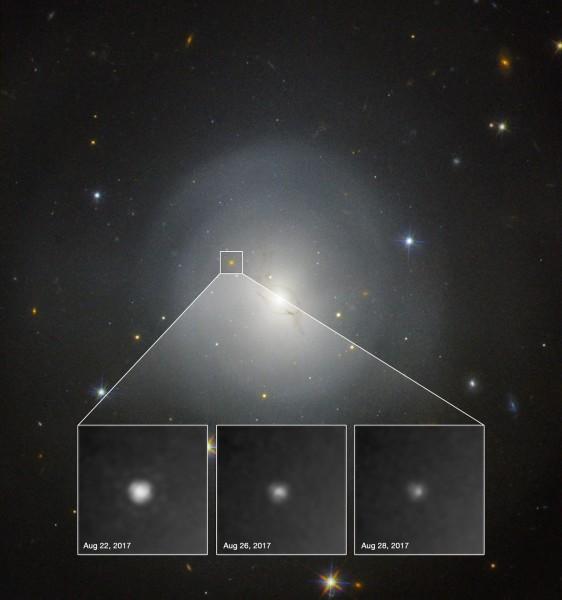 L'immagine della galassia (a 130 milioni di AL di distanza) e l'esplosione della chilonova (fusione di due stelle di neutroni), osservata da Hubble. Chissà quanto oro si è formato!. Fonte: NASA ed ESA.
