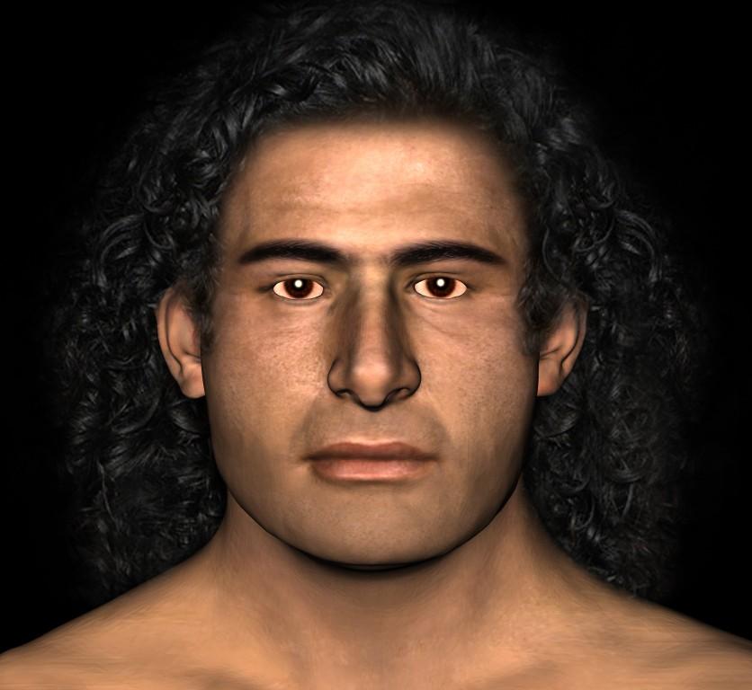 Il volto del guerriero ricostruito in base allo scheletro trovato in ottime condizioni di conservazioni. Chissà chi era?