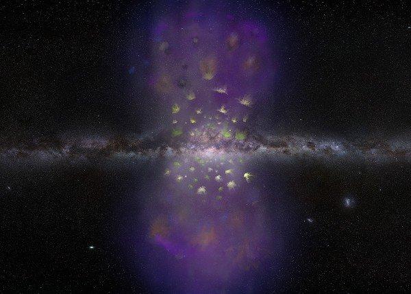 Visione artistica del centinaio di nubi di idrogeno che volano fuori dalla via Lattea all'interno delle bolle di Fermi: Fonte: V. Vosteen; Photo: S. Brunier (GBO/AUI/NSF)