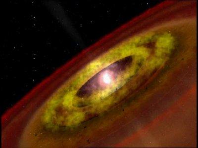 Una classica T-Tauri con il suo disco di materia che la circonda e la oscura i tanto in tanto. La stessa stella sta ancora contraendosi
