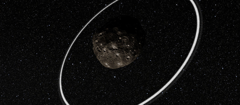 Observations at many sites in South America, including ESO's La Silla Observatory, have made the surprise discovery that the remote asteroid Chariklo is surrounded by two dense and narrow rings. This is the smallest object by far found to have rings and only the fifth body in the Solar System — after the much larger planets Jupiter, Saturn, Uranus and Neptune — to have this feature. The origin of these rings remains a mystery, but they may be the result of a collision that created a disc of debris. This artist's impression shows a close-up of what the rings might look like.