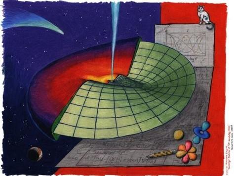 Schrödinger nello Spazio: una visione artistica della ricerca di Barygin. La propagazione delle onde attraverso un disco astrofisico può essere desscritta utilizzando l'equazione di Schrödinger, una delle basi fondamentali della meccanica quantistica. Fonte: James Tuttle Keane, California Institute of Technology