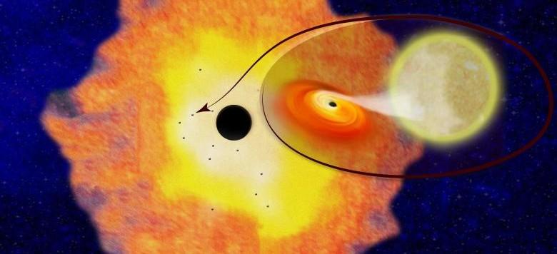 """Visione artistica dei 12 buchi neri (accoppiati con piccolo stelle) che sono stati scoperti attorno al buco nero galattico al centro della Via Lattea. La loro esistenza suggerisce che possano esisterne almeno 10000 in una zona di tre anni luce attorno al """"mostro""""più grande. Fonte: Columbia University."""