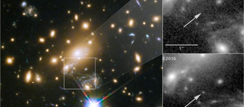 A sinistra l'ammasso galattico situato a 5 miliardi di anni luce da noi. A destra lo zoom sul quadratino di sinistra; in alto, nel 2011 e in basso nel 2016. Dove non esisteva niente è apparsa la  nuova stella, senza dovere esplodere per essere vista. Credit: NASA, ESA, and P. Kelly, University of Minnesota