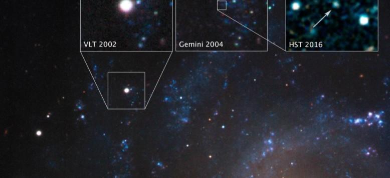 Diciassette anni fa è stata vista la supernova 2001ig nella galassia NGC 7424, a 40 milioni di anni luce di distanza. Nel 2002 il VLT  ne ottenne una splendida immagine. Due anni dopo, nel 2004, il telescopio Gemini, sempre dell'ESO, scorge al limite della visibilità una stella proprio simile alla compagna che ci si poteva aspettare. Infine, nel 2016, quando ormai la luminosità della supernova era praticamente scomparsa, Hubble non ha più lasciato dubbi e la sopravvissuta si è mostrata senza problemi. Le supernove di tipo IIb possono veramente nascere in sistemi binari. Non resta adesso che trovarne molte altre… Fonte: NASA, ESA, S. Ryder (Australian Astronomical Observatory), and O. Fox (STScI)