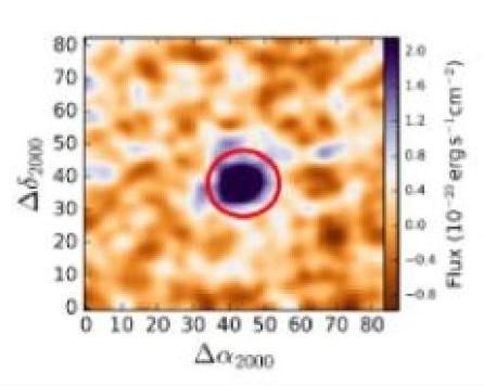 L'emissione nella linea Lyman-alpha di una probabile galassia oscura. Fonte: R. A. Marino / MUSE