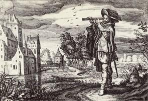 """Antica rappresentazione di un telescopio olandese, dal lavoro """"Emblemata of zinne-werck"""" (Middelburg, 1624)"""