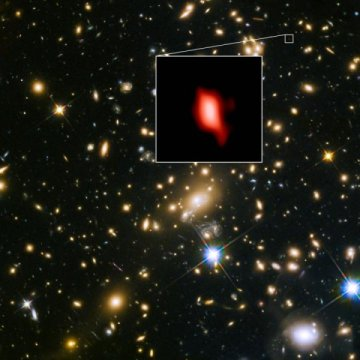 L'ammasso galattico (ooservato da Hubble), in cui è stata trovata la più antica galassia (imagine di ALMA). Credit: ALMA (ESO/NAOJ/NRAO), NASA/ESA Hubble Space Telescope, W. Zheng (JHU), M. Postman (STScI), the CLASH Team, Hashimoto et al.